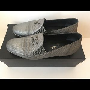Authentic Chanel metallic silver loafers